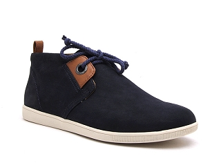 BORDER DERBY CANVAS STONE MID CUT:Bleu